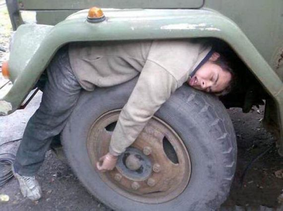 I'm Tired. Get it? Tire-d.